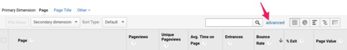 Фильтрация данных в отчёте «Поведение» – «Контент сайта» – «Все страницы»