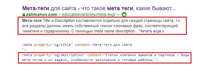 Пример подмены содержимого Description в Google