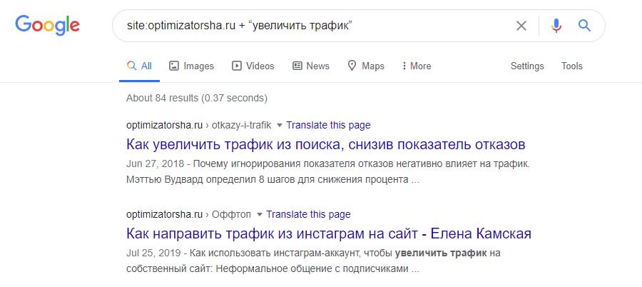 Пример использования поискового оператора site